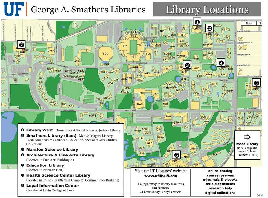A map with Library Locations identfied