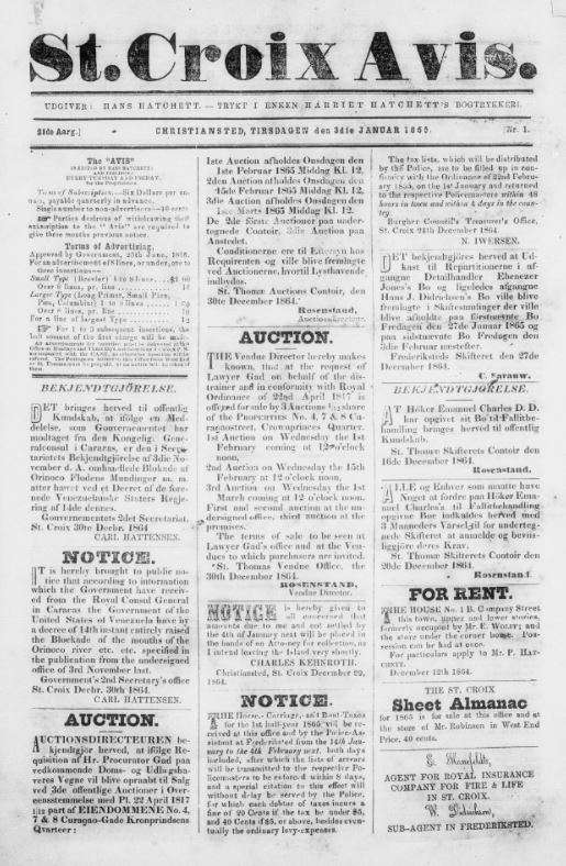 The front page of the St. Croix Avis issue published on January 3, 1865.