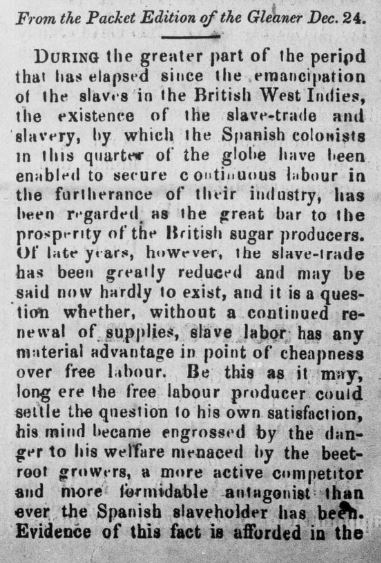 Correspondence from the Gleaner (Jamaican newspaper) published in the January 22, 1869 issue of the St. Croix Avis. The article discusses the slave-trade in the British West Indies, and the impact of emancipation on sugar production.
